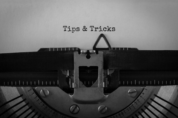 Text Tips and Tricks typed on retro typewriter