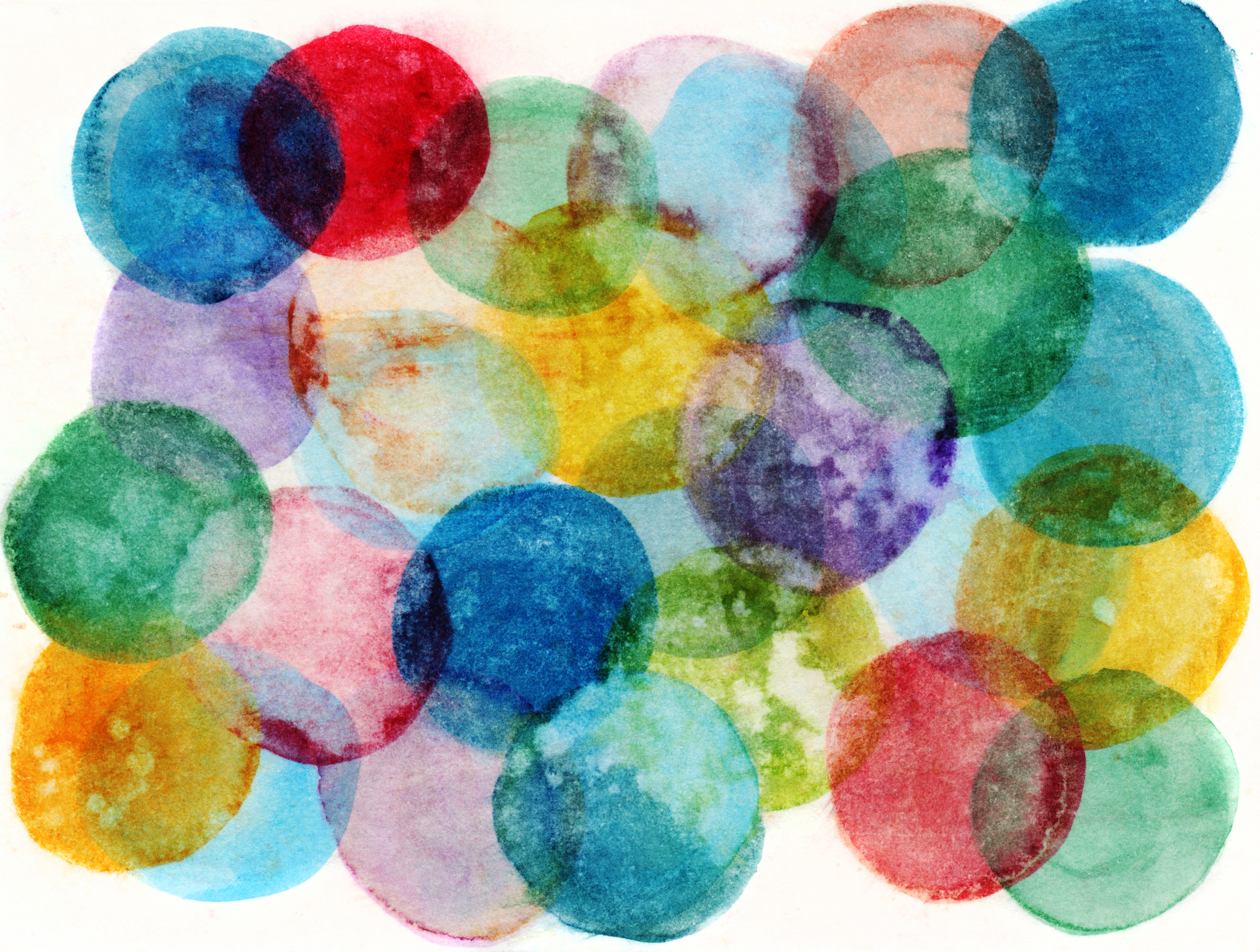 An hand painted background created with watercolors and inks. There are circular formations with texture from splatters of water and paint. There is a distressed texture throughout the painting. There are a variety of many colors.