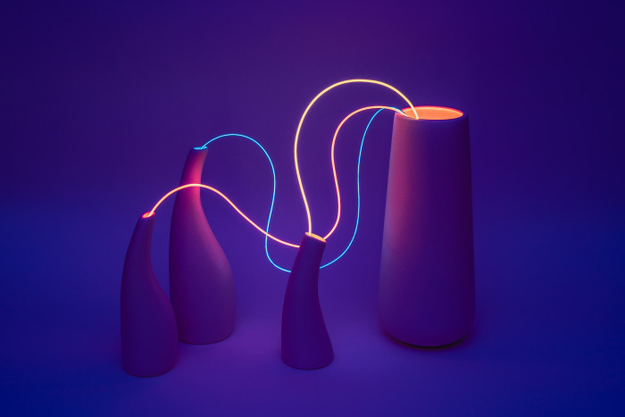 Neon Cable Linking Vases