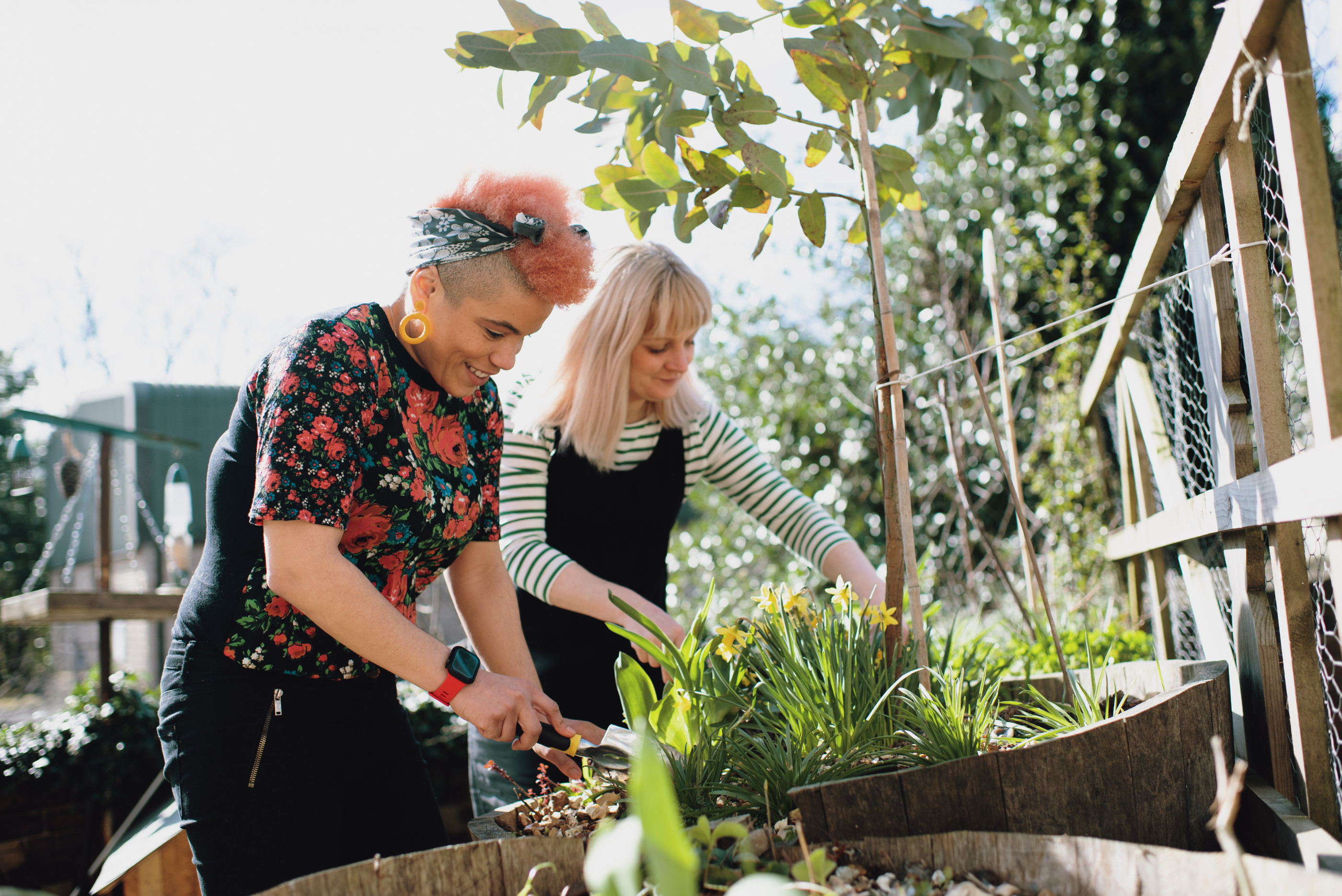 Female couple at home gardening in spring