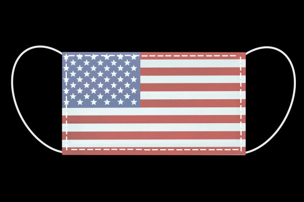 American national flag on on surgical mask