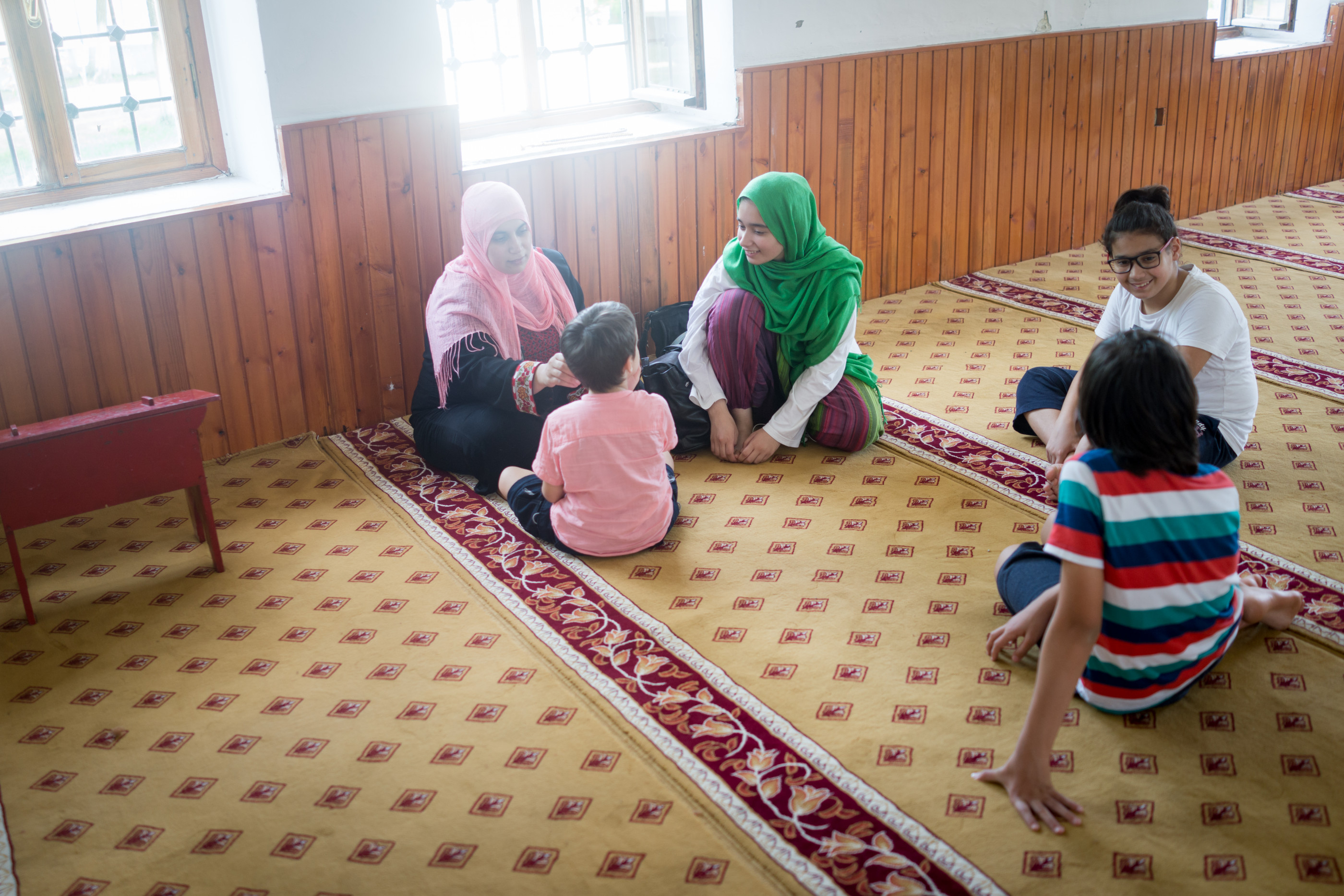 Muslim family in mosque