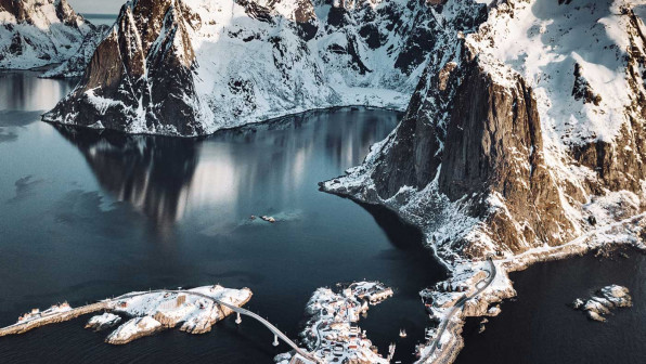 aerial view of Reine in Norway