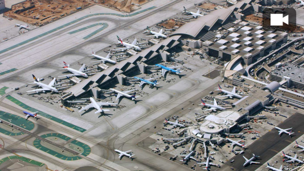 Aerial shot above an airport in California. Shot in USA.