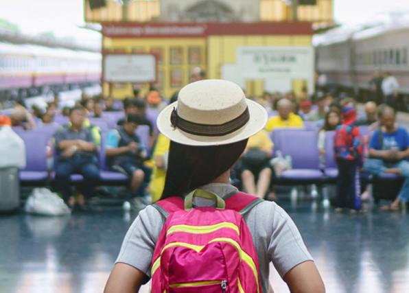 Custom Content - Traveler at Train Stop