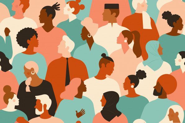 Diverse group of stylish people standing together. Society or population, social diversity. Flat cartoon vector illustration.