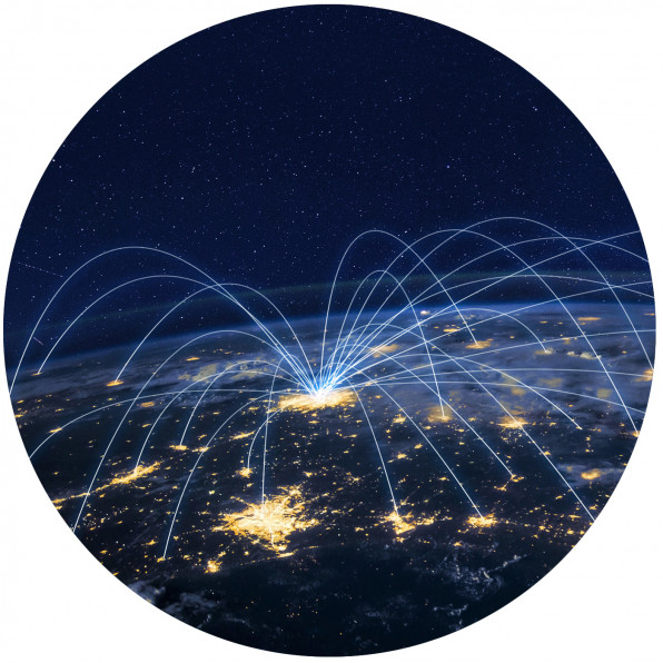 distribution and delivery concept, network over planet Earth - stock photo